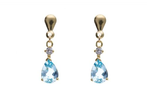 9 Carat Yellow Gold Blue Topaz and Cubic Zirconia Drop Earrings AP6852